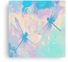 Blue Painting Dragonflies Canvas Print