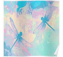 Blue Painting Dragonflies Poster