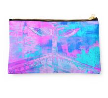 Totem Log Cabin Abstract - Hot Pink & Turquoise Studio Pouch