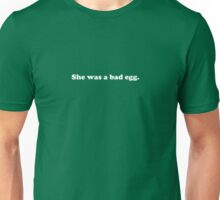Willy Wonka - She was a bad egg - White Font Unisex T-Shirt