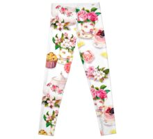 shabby chic,tea time,porcelain,biscuits,vintage,rustic,elegant,chic,victorian,girly, decorative,decor,contemporary,floral,style,stylish Leggings