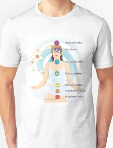 7 chakras system with explaining text, mediation lady,yoga,yogi Unisex T-Shirt
