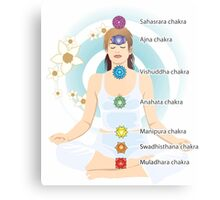7 chakras system with explaining text, mediation lady,yoga,yogi Metal Print