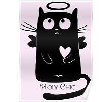 Cute Black Cartoon Cat Angel with Heart Holy Chic Poster