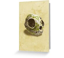 cat skull painted with wasabi flowers Greeting Card
