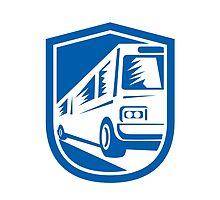 Tourist Coach Shuttle Bus Traveling Fast Retro by patrimonio