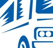 Tourist Coach Shuttle Bus Traveling Fast Retro Sticker