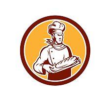 Chef Cook Holding Bread Woodcut Retro by patrimonio