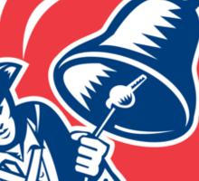 American Patriot Ringing Liberty Bell Woodcut Retro Sticker