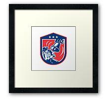 American Patriot Ringing Liberty Bell Woodcut Retro Framed Print