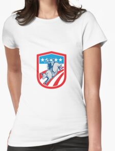 American Rodeo Cowboy Bull Riding Shield Retro Womens Fitted T-Shirt