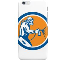 Spray Paint Gun Painter Spraying Woodcut Retro iPhone Case/Skin