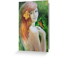 Girl with butterfly  Greeting Card