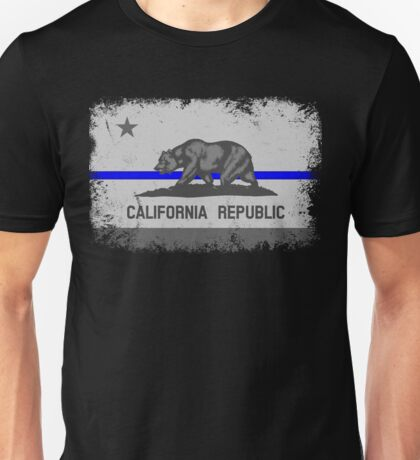 Blue Line California State Flag Unisex T-Shirt