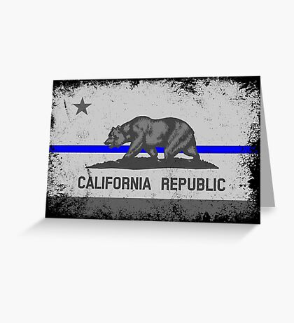 Blue Line California State Flag Greeting Card