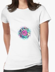 Fruity Rose - Fancy Colorful Abstraction Pattern Design (green pink blue) Womens Fitted T-Shirt