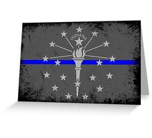 Blue Line Indiana State Flag Greeting Card