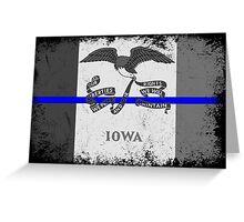 Blue Line Iowa State Flag Greeting Card