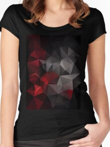 Abstract background of triangles polygon wallpaper in black red colors Women's Fitted Scoop T-Shirt