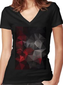 Abstract background of triangles polygon wallpaper in black red colors Women's Fitted V-Neck T-Shirt