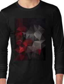 Abstract background of triangles polygon wallpaper in black red colors Long Sleeve T-Shirt