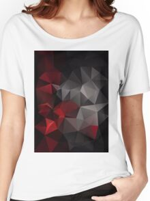 Abstract background of triangles polygon wallpaper in black red colors Women's Relaxed Fit T-Shirt