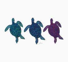 Sea Turtles 6C green blue purple Kids Tee