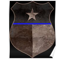 Thin Blue Line Texas Flag Police Badge Poster