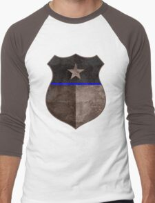 Thin Blue Line Texas Flag Police Badge Men's Baseball ¾ T-Shirt