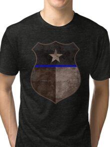 Thin Blue Line Texas Flag Police Badge Tri-blend T-Shirt