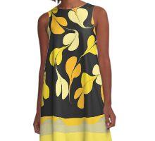 black and gold petals A-Line Dress