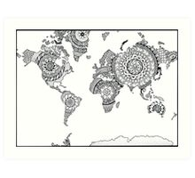 Black and White World Mandalas Art Print
