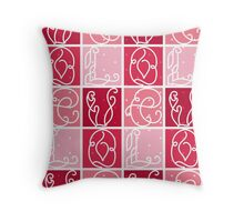 Tiled Love Letters Pattern Throw Pillow