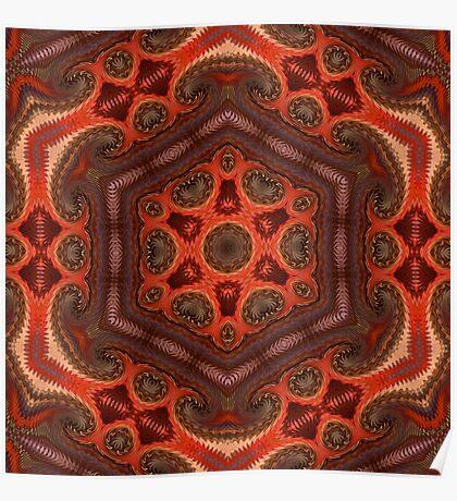 Kaleidoscope. Orange-brown tone. Poster