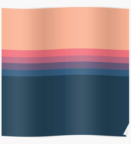 Coral blue Color blocks pattern  Poster