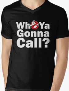Who ya gonna call? (white) Ghostbusters Mens V-Neck T-Shirt
