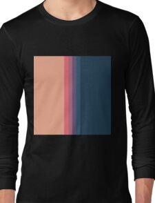 Coral blue Color blocks pattern- vertical Long Sleeve T-Shirt