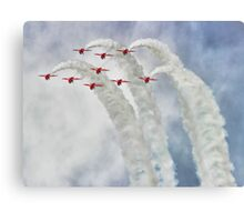 Looping In The Skies - The Red Arrows Farnborough 2014 Canvas Print