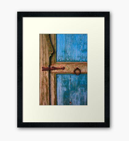 Rustic Old Blue Moroccan Door Framed Print
