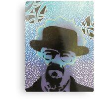 Stencil Blue Metal Print