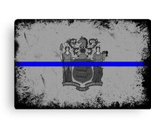 Blue Line New Jersey State Flag Canvas Print