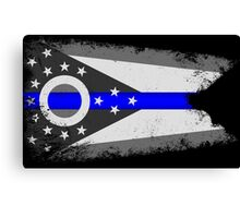 Blue Line Ohio State Flag Canvas Print