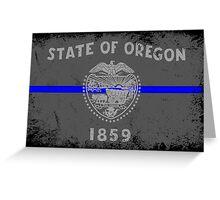 Blue Line Oregon State Flag Greeting Card
