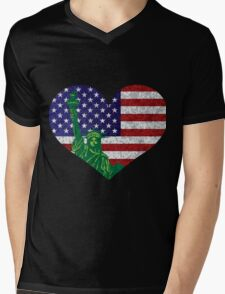 4th of July Heart Flag and Statue of Liberty Mens V-Neck T-Shirt