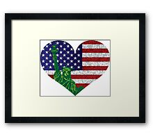 4th of July Heart Flag and Statue of Liberty Framed Print