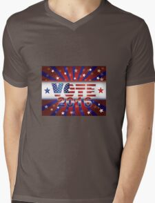 Vote 2016 Presidential Election On USA Flag Background Illustration Mens V-Neck T-Shirt