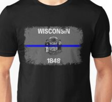 Blue Line Wisconsin State Flag Unisex T-Shirt