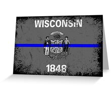 Blue Line Wisconsin State Flag Greeting Card