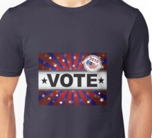 Vote 2016 Red White and Blue Stars Sun Rays and Banner Unisex T-Shirt