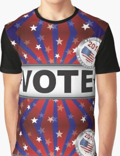 Vote 2016 Red White and Blue Stars Sun Rays and Banner Graphic T-Shirt